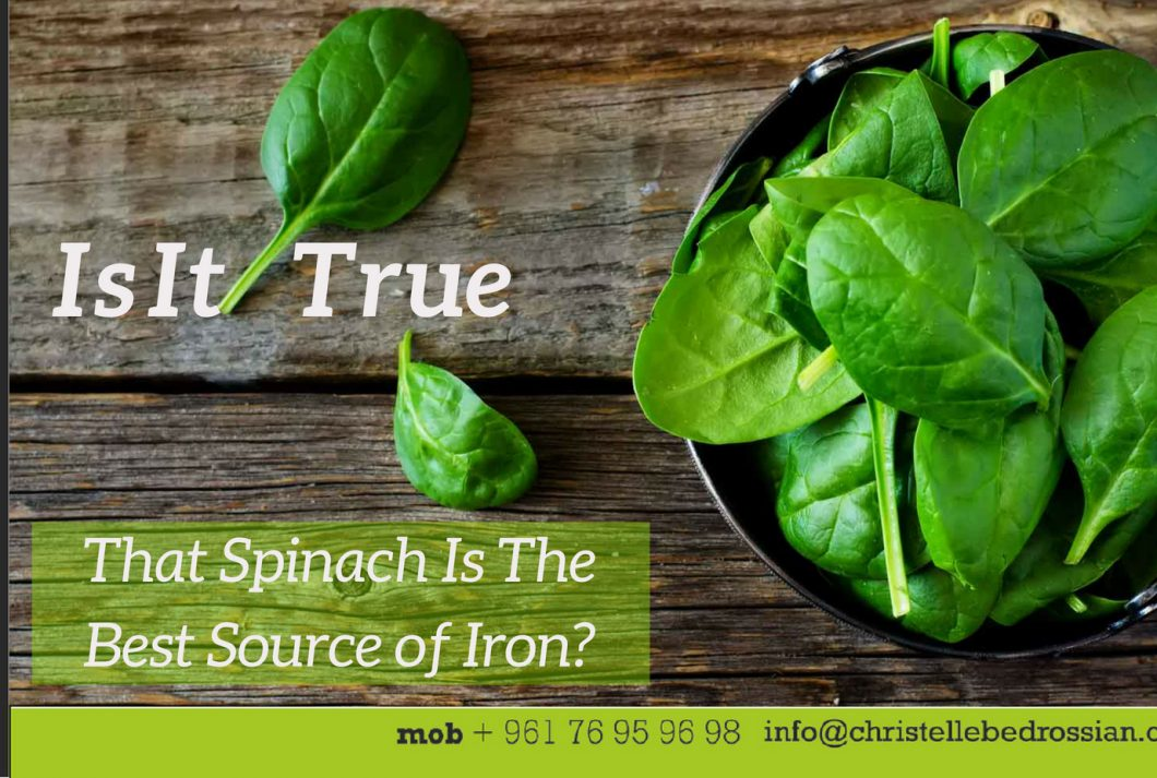 best dietitian lebanon, lebanon, diet, health, spinach, iron, food sources